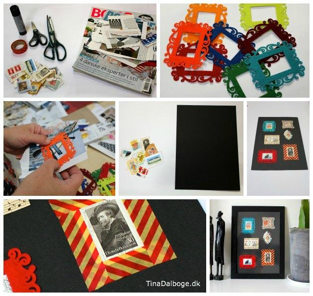 Kreativ-ide-med-filtramme-gamle-frimærker-og-Maskengtape